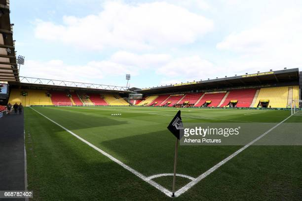 A general view of Vicarage Road Stadium prior to kick off of the Premier League match between Watford and Swansea City at Vicarage Road Stadium on...