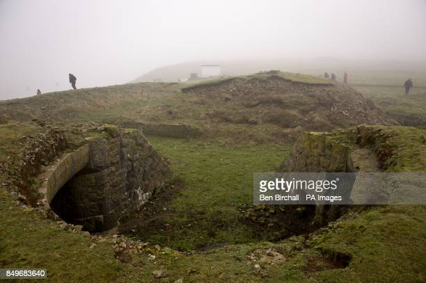 A general view of Victorian fortifications on Flat Holm island in the Bristol Channel Flat Holm is a limestone island in the Bristol Channel...