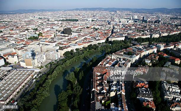 A general view of Vienna showing the River Danube from the UEFA European Football Championship hot air balloon ahead of the UEFA EURO 2008 Quarter...
