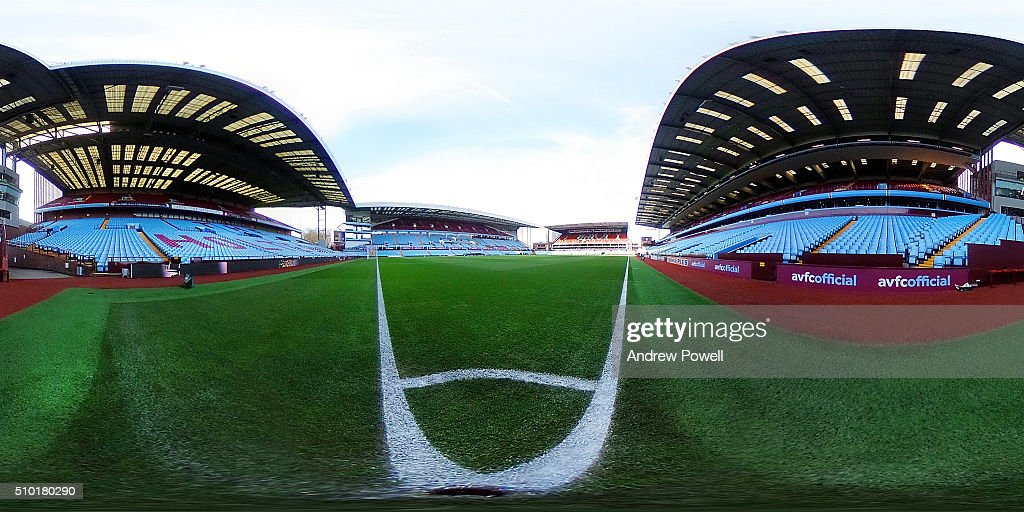 Image was created as an Equirectangular Panorama. Import image into a panoramic player to create an interactive 360 degree view.) General view of Villa Park before the Barclays Premier League match between Aston Villa and Liverpool at Villa Park on February 14, 2016 in Birmingham, England.