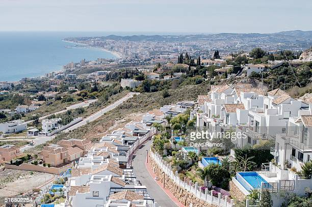 A general view of villas with the city of Fuengirola on the background is seen on March 17 2016 in Benalmadena Spain Spain is Europe's top...