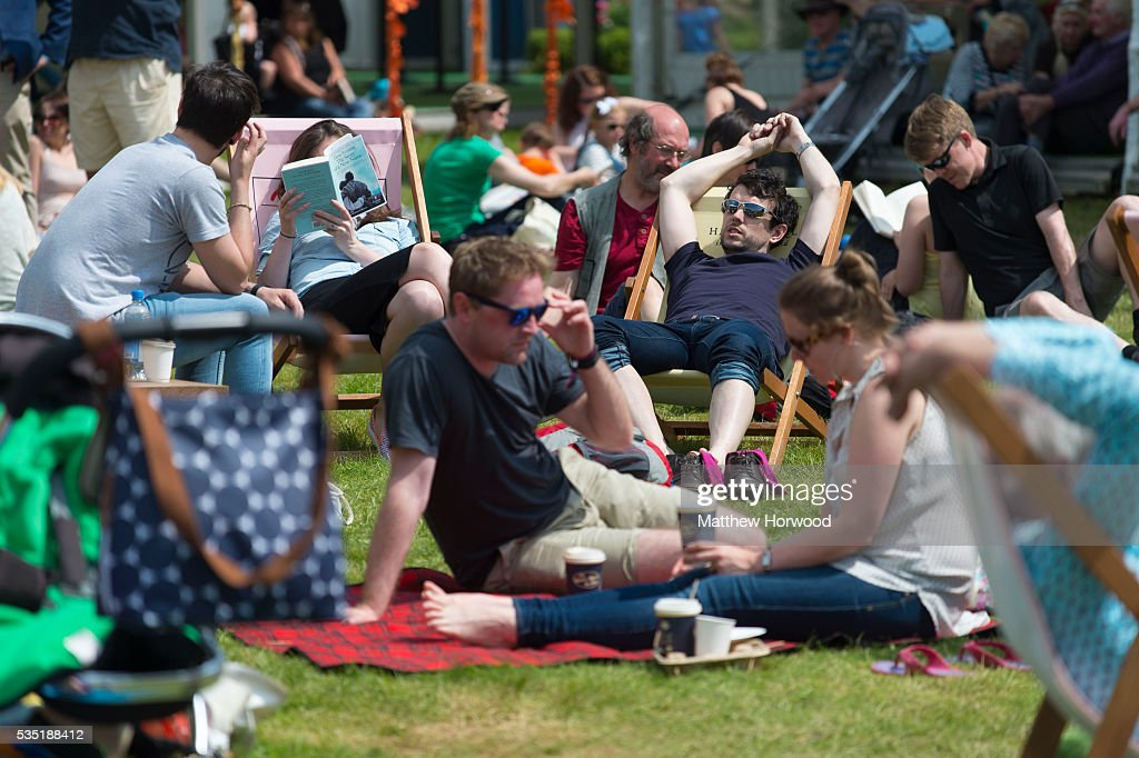 A general view of visitors enjoying the warm summer weather during the 2016 Hay Festival on May 29, 2016 in Hay-on-Wye, Wales. The Hay Festival is an annual festival of literature and arts now in its 29th year.