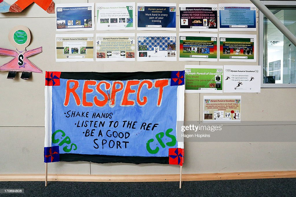 A general view of visual displays created by children during the launch of the New Zealand Olympic Ambassador Programme at ASB Sports Centre on June 20, 2013 in Wellington, New Zealand.