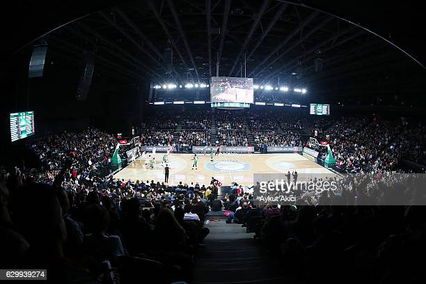 A general view of Volkswagen Arena during the 2016/2017 Turkish Airlines EuroLeague Regular Season Round 12 game between Darussafaka Dogus Istanbul v...