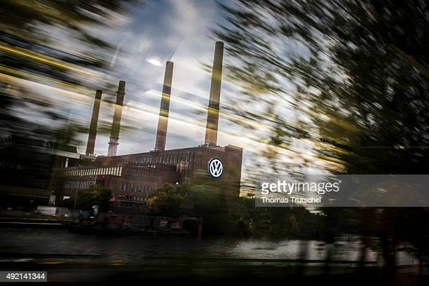 General view of Volkswagen car manufacture plant during sunset with reflections of a window on October 10 2015 in Wolfsburg Germany