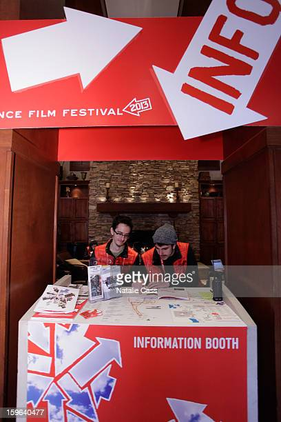 A general view of volunteers at the info booth on Day 1 during the 2013 Sundance Film Festival on January 17 2013 in Park City Utah
