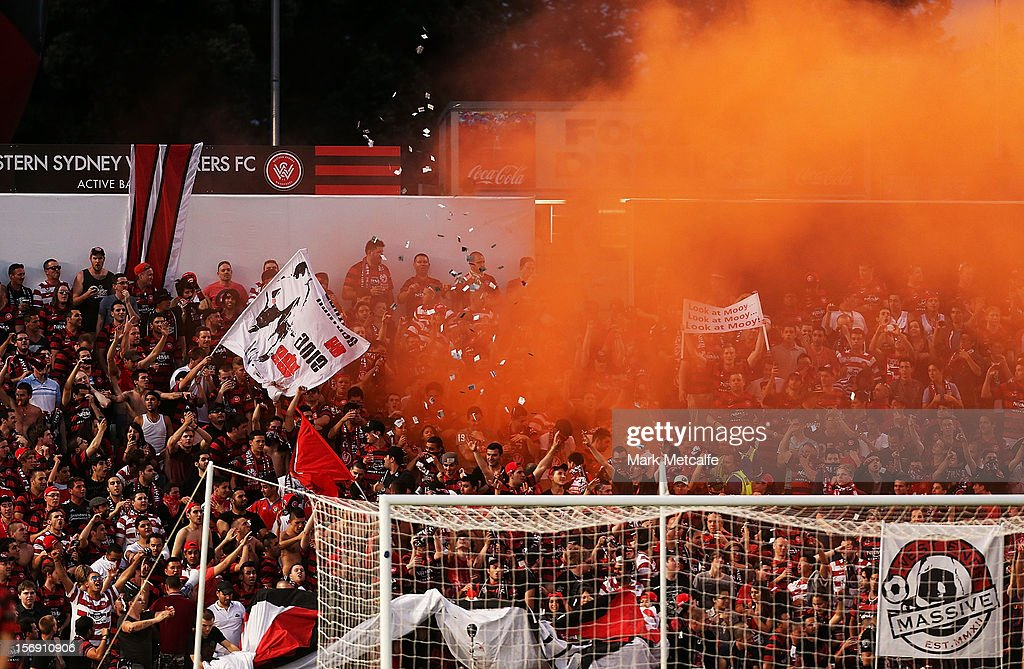 General view of Wanderers fans during the round eight A-League match between the Western Sydney Wanderers and the Melbourne Victory at Parramatta Stadium on November 24, 2012 in Sydney, Australia.