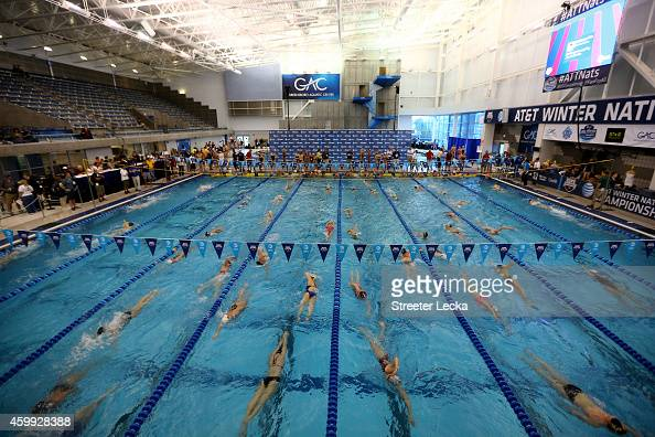 A general view of warm ups before day 1 of the USA Swimming 2014 ATT Winter National Championships at the Greensboro Aquatic Center on December 4...