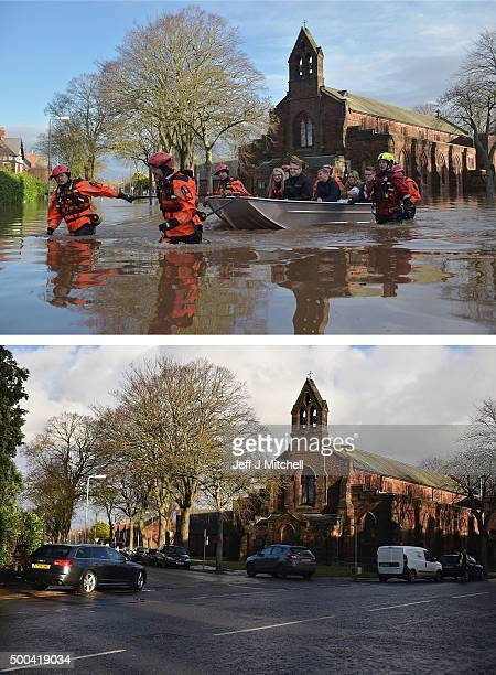COMPOSITE IMAGE In this composite a comparison has been made between Warwick road photographed on December 6 2015 and on December 8 2015 CARLISLE...