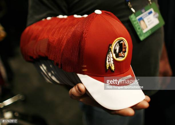 A general view of Washington Redskin hats during the 2007 NFL Draft on April 28 2007 at Radio City Music Hall in New York New York