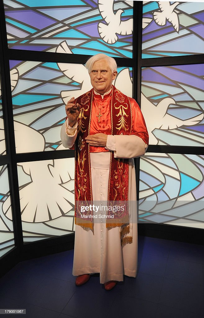 A general view of wax figure of Pope Benedict XVI is seen at Madame Tussauds Vienna on September 2, 2013 in Vienna, Austria.