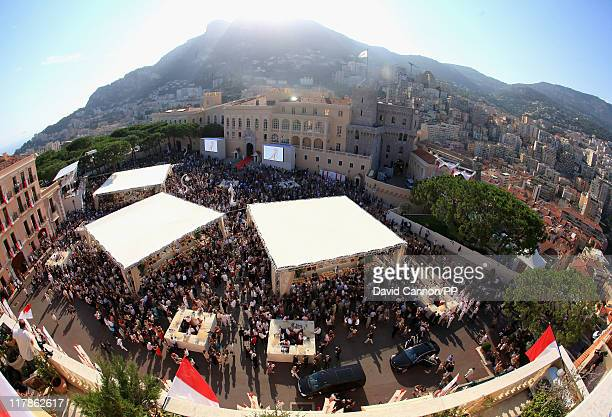 A general view of well wishers outside the civil ceremony of the Royal Wedding of Prince Albert II of Monaco to Charlene Wittstock at the Prince's...