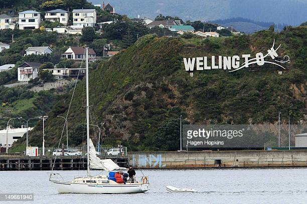 A general view of Wellington Airport's 'Wellington Blown Away' sign on August 2 2012 in Wellington New Zealand The city was originally planning to...