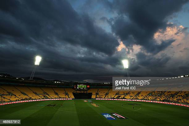A general view of Wellington Regional Stadium during the 2015 ICC Cricket World Cup match between South Africa and the United Arab Emirates at...