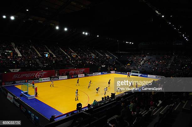 A general view of Wembley Arena during the Maxifuel Super Sixes Mens Final match between Surbiton and East Grinstead at Wembley Arena on January 29...