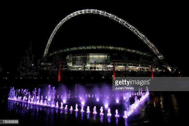 A general view of Wembley Stadium at night on January 17 2007 in London England