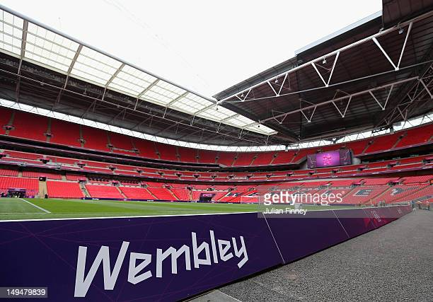 A general view of Wembley Stadium before the Men's Football first round Group A Match between Senegal and Uruguay on Day 2 of the London 2012 Olympic...