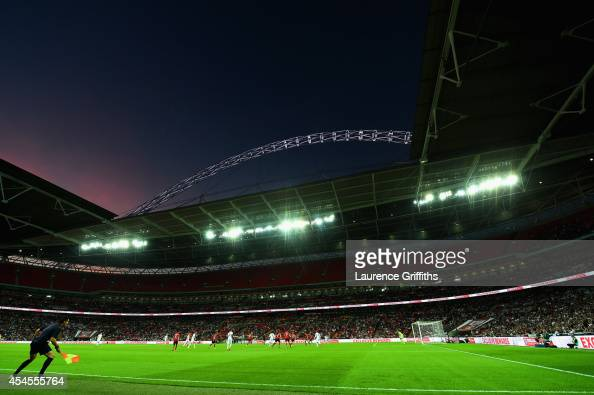 A general view of Wembley Stadium with an empty top tier during the International friendly match between England and Norway at Wembley Stadium on...