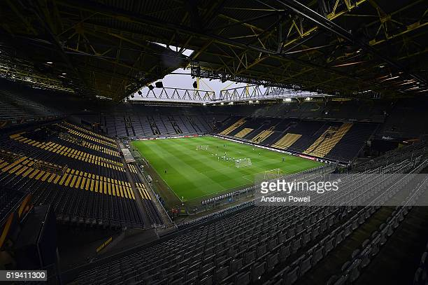 General view of Westfalenstadion as Liverpool train during a Training session at Westfalenstadion on April 6 2016 in Dortmund Germany