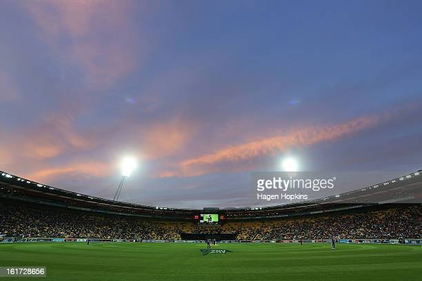 A general view of Westpac Stadium during the third Twenty20 International match between New Zealand and England at Westpac Stadium on February 15...