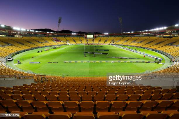 A general view of Westpac Stadium prior to the round 11 Super Rugby match between the Hurricanes and the Stormers at Westpac Stadium on May 5 2017 in...