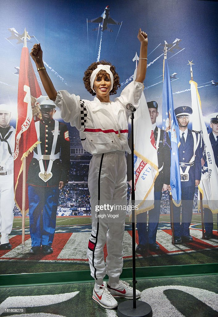General view of Whitney Houston wax figure at Madame Tussauds on February 12, 2013 in Washington, DC.