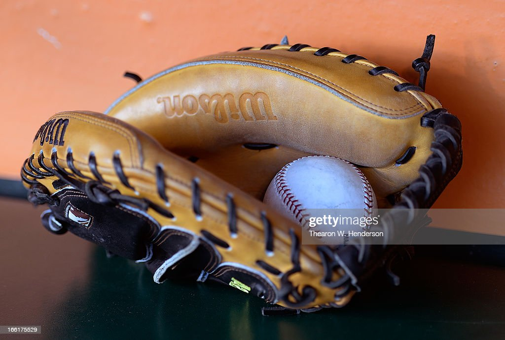 A general view of Wilson catchers gloves sitting in the dugout of the Colorado Rockies during an MLB baseball game against the San Francisco Giants at AT&T Park on April 8, 2013 in San Francisco, California.