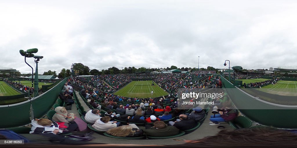 A general view of Wimbledon Court 2 on day three of the Wimbledon Lawn Tennis Championships at the All England Lawn Tennis and Croquet Club on June 29, 2016 in London, England.