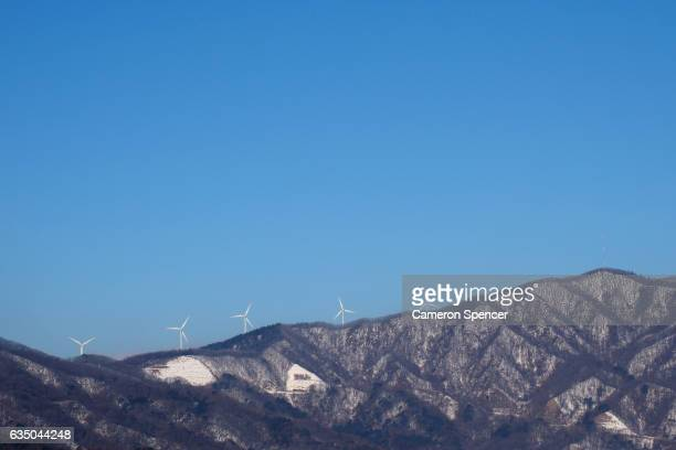 A general view of wind trubines located near Bokwang Snowpark on February 13 2017 in PyeongChanggun South Korea Bokwang Snowpark will be used for the...