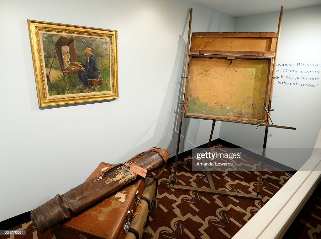 A general view of Winston Churchill's travel easel and baggage at the opening of an exhibition of Winston Churchill's paintings to coincide with the 80th anniversary celebration of the Queen Mary's maiden voyage at The Queen Mary on May 27, 2016 in Long Beach, California. All paintings are copyright of the Churchill Heritage Limited.