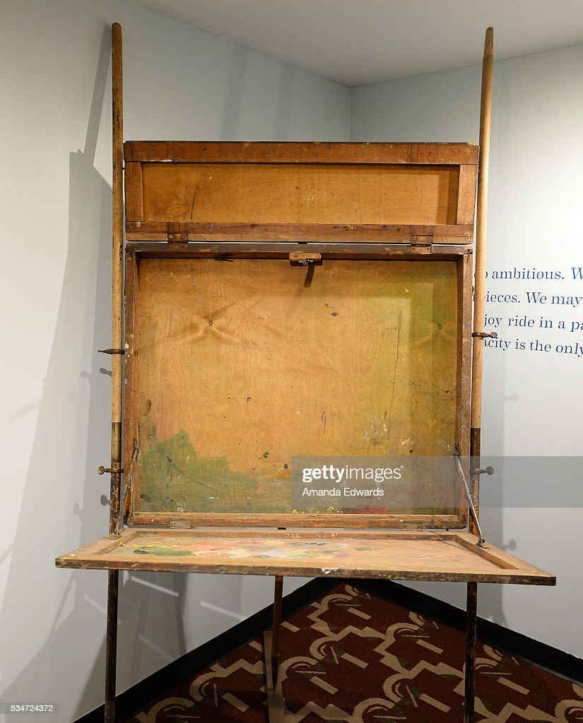 A general view of Winston Churchill's travel easel at the opening of an exhibition of Winston Churchill's paintings to coincide with the 80th anniversary celebration of the Queen Mary's maiden voyage at The Queen Mary on May 27, 2016 in Long Beach, California. All paintings are copyright of the Churchill Heritage Limited.