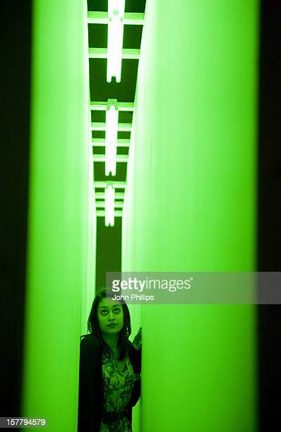 A General View Of Work By Bruce Nauman Titled Green Light Corridor At The Move Choregraphing You' Exhibition At The Hayward Gallery London