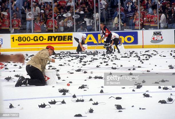 General view of workers cleaning up the plastic rats after a goal was scored by the Florida Panthers during Game 3 of the 1996 Stanley Cup Finals...