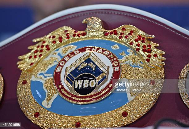 A general view of world champion belt at the press conference at Lenkwerk on August 26 2014 in Bielefeld Germany The WBO World Championship...
