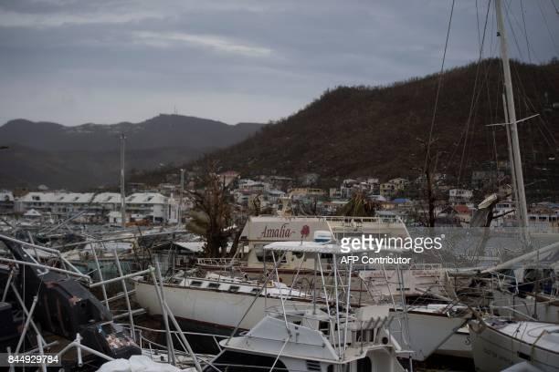 General view of wrecked boats in Geminga shipyard in Marigot taken on September 9 2017 in SaintMartin island devastated by Irma hurricane Officials...