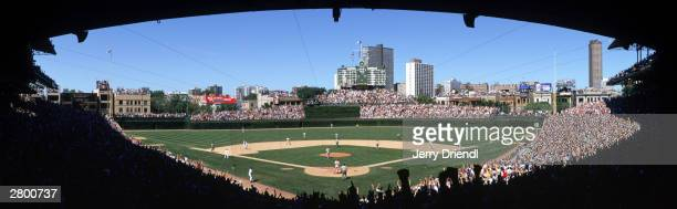 General view of Wrigley Field and skyline from behind home plate lower level during the National League game between the Philadelphia Phillies and...