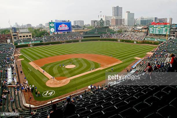 A general view of Wrigley Field before the game between the Chicago Cubs and the Cincinnati Reds where the entire bleachers are open for the first...