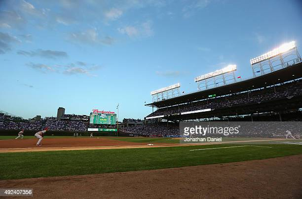 A general view of Wrigley Field during game three of the National League Division Series betweent he Chicago Cubs and the St Louis Cardinals on...