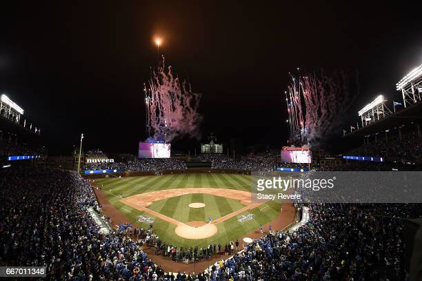 A general view of Wrigley Field during the flag raising ceremony prior to the home opener between the Chicago Cubs and the Los Angeles Dodgers on...