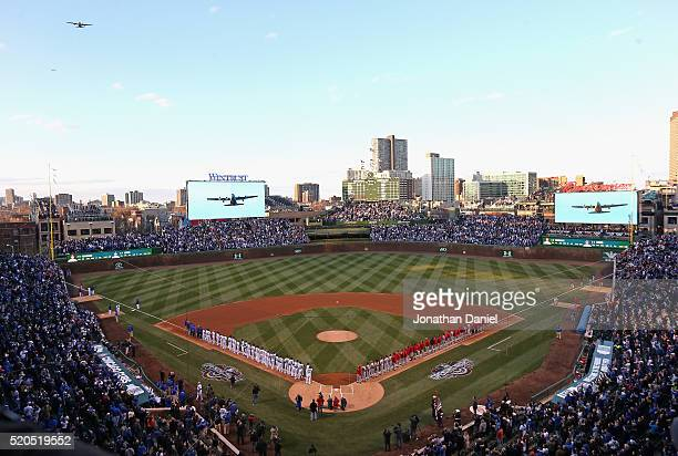 A general view of Wrigley Field during the National Anthem before the home opener between the Chicago Cubs and the Cincinnati Reds on April 11 2016...