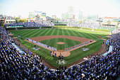 A general view of Wrigley Field during the national anthem prior to game three of the National League Division Series between the Chicago Cubs and...