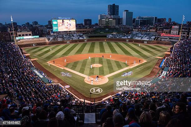 A general view of Wrigley Field during the Opening Night game between the Chicago Cubs and the St Louis Cardinals on Sunday April 5 2015 in Chicago...