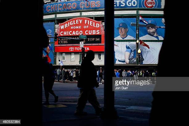 A general view of Wrigley Field from inside the Cubby Bear before Game Four of the National League Divisional Series between the Chicago Cubs and St...
