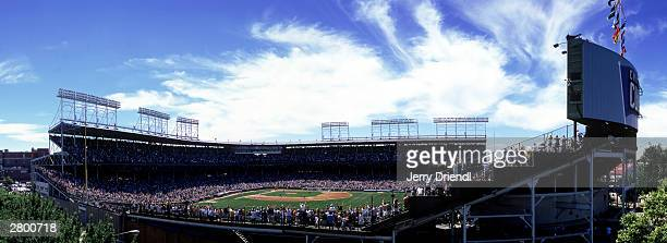 General view of Wrigley Field from Murphy's Bleachers across the street from Wrigley Field as Sammy Sosa of the Chicago Cubs hits a home run during...
