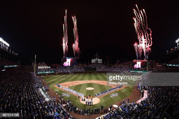 A general view of Wrigley Field prior to the home opener between the Chicago Cubs and the Los Angeles Dodgers on April 10 2017 in Chicago Illinois