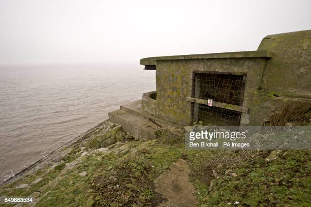 A general view of WWII fortifications on Flat Holm island in the Bristol Channel Flat Holm is a limestone island in the Bristol Channel approximately...