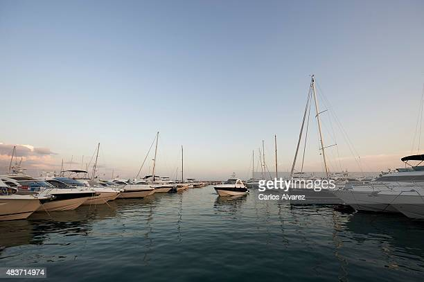 General view of yacht dock in the Portals Port on August 09 2015 in Palma de Malorca Spain Puerto Portals is the most prestigious nautical and...