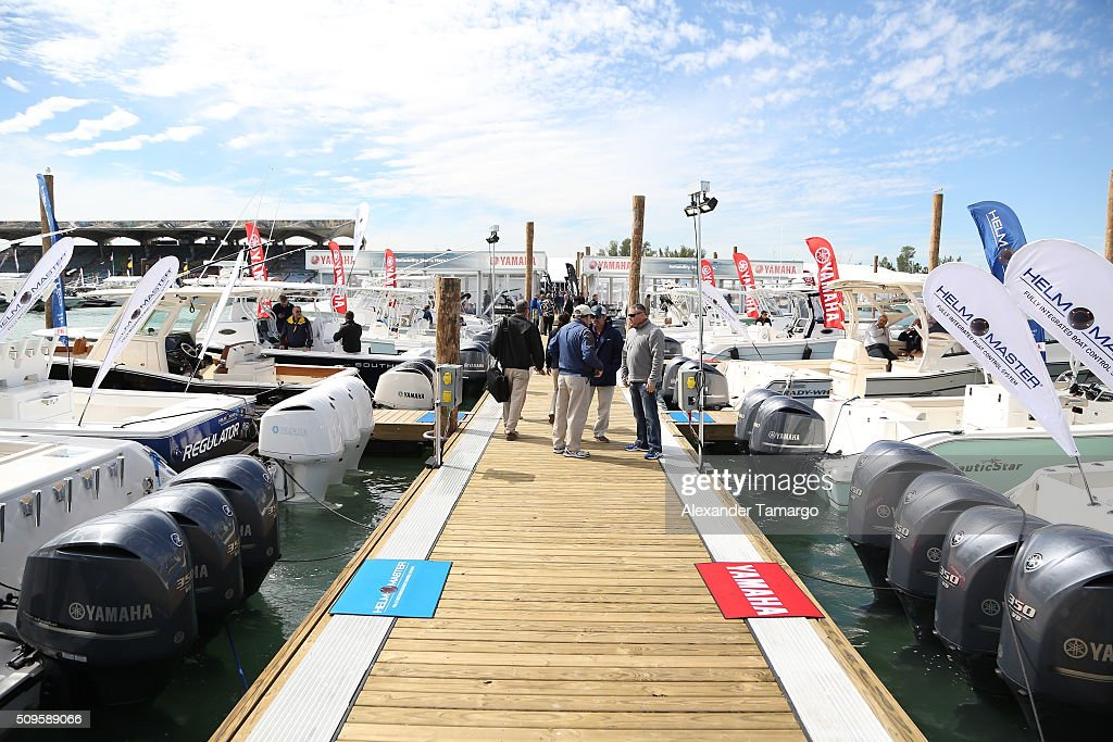 A general view of YAMAHA boats at the marina at the Miami International Boat Show on February 11, 2016 in Miami, Florida.
