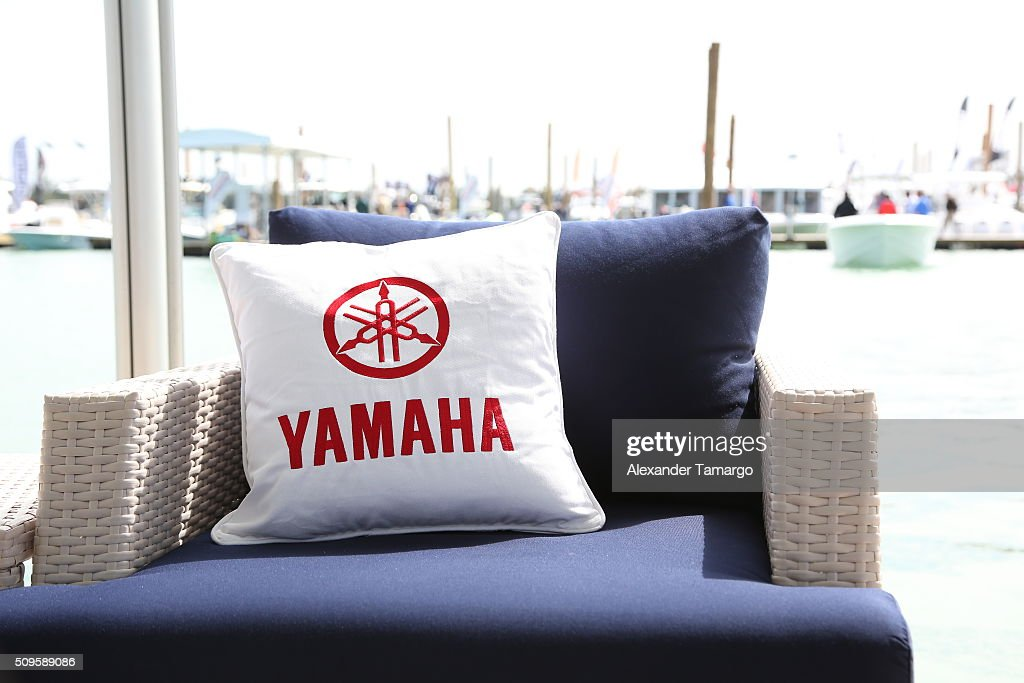 A general view of YAMAHA booth at the marina at the Miami International Boat Show on February 11, 2016 in Miami, Florida.