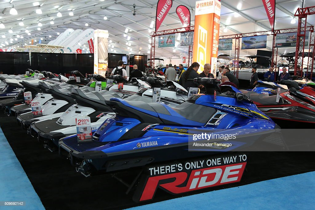 A general view of YAMAHA personal watercrafts at the Miami International Boat Show on February 11, 2016 in Miami, Florida.